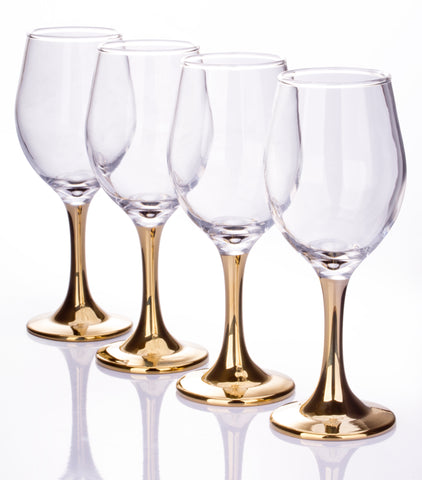 Set of 4 Gold Stemmed Wine Glasses