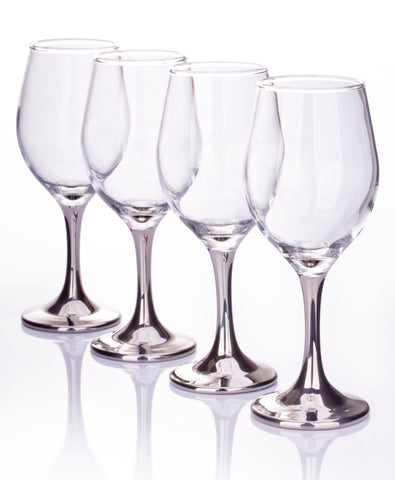 Set of 4 Platinum Stemmed Wine Glasses