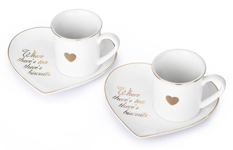 """Where there's tea there's Biscuits"" - 2 x Set of 2 Heart Shaped Cup and Saucers"