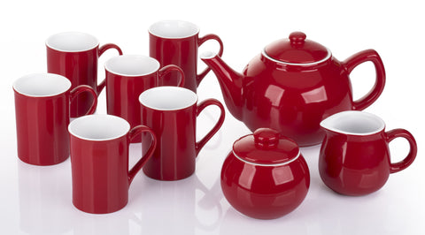9 Piece Two Tone Red and White Tea Set