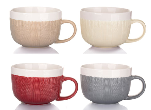 Set of 4 Cable Knit XL Jumbo Cups – 4 Colours