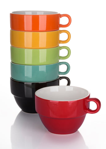 Set of 6 Rainbow Stacking Jumbo Cups – 6 Colours