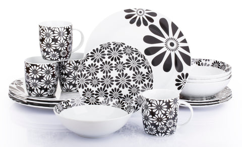 16 Piece Kira Black Flower Dinner Set