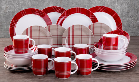 32 Piece Highland Red Tartan Dinner Set