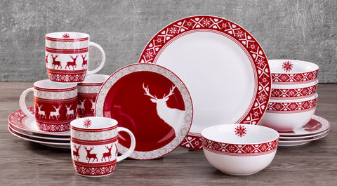 16 Piece Nordic Reindeer Dinner Set