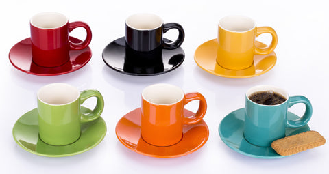 Set of 6 Rainbow Espresso Cup & Saucers – 6 Colours