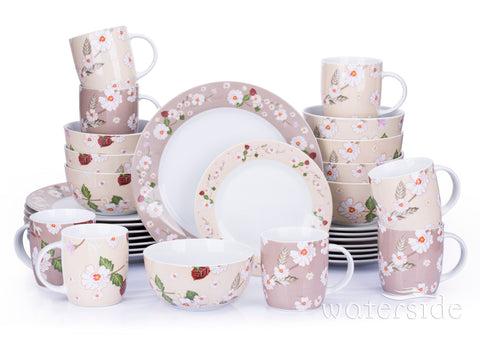 32 Piece Natural Blossom Dinner Set