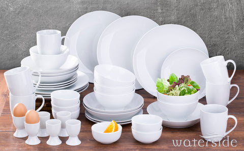 42 Piece White Coupe Dinner Set