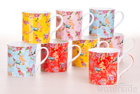 8 Piece Birds of Paradise Mug Set