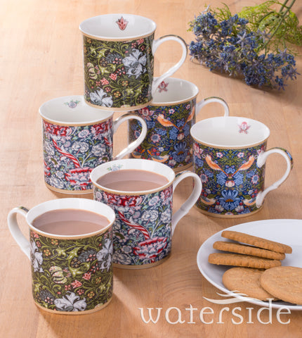 6 Piece William Morris Fine China Mug Set