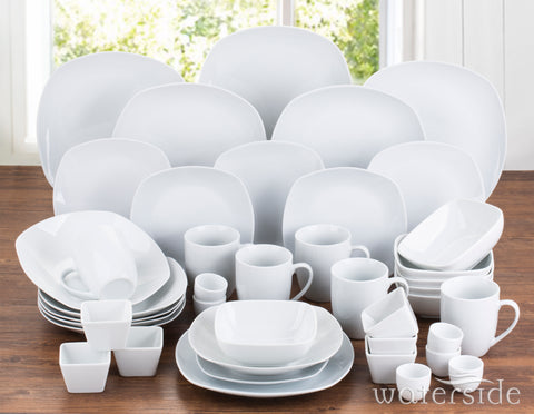 42 Piece White Square Dinner Set