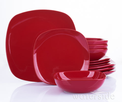 12 Piece Kobe Red Square Dinner Set