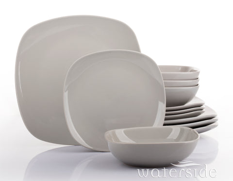 12 Piece Kobe Dove Grey Square Dinner Set