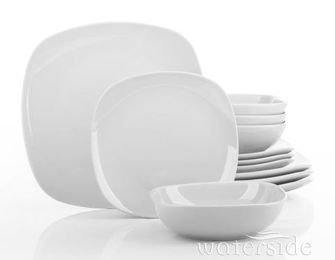 12 Piece Kobe White Square Dinner Set