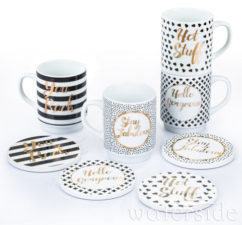 2 x 8 Piece Mugs and Coasters Set