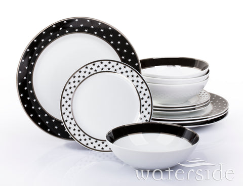 12 Piece Black Star Platinum Band Dinner Set