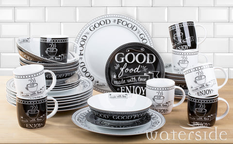 32 Piece Black & White Good Food Dinner Set-CLEARANCE!