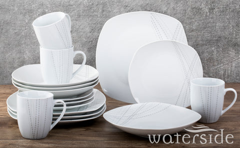 16 Piece White Harper Dinner Set