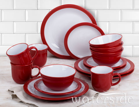 16 Piece Red Camden Dinner Set