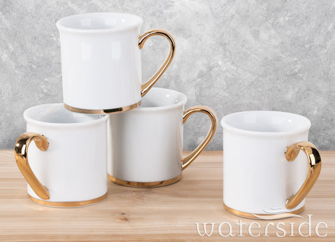 Set of 4 Highgrove White & Gold Mugs