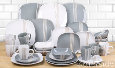 32pc Mimi Grey & White Dinner Set