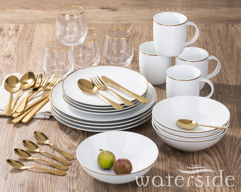 36 Piece New Home Gold Dinner Set
