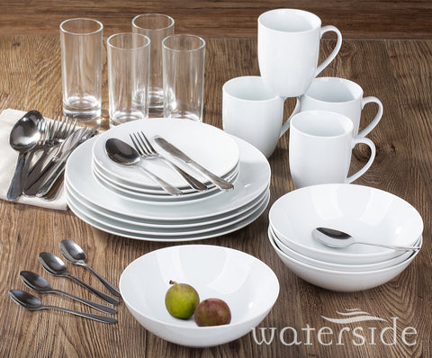 36 Piece White Bistro Dinner Set