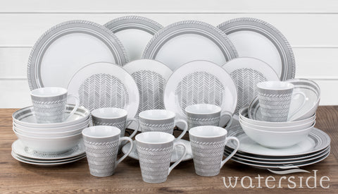 32pc Grey Herringbone Dinner Set