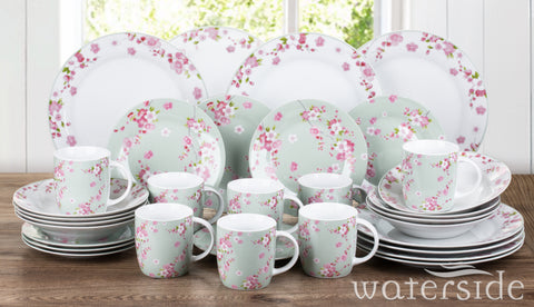 32 Piece Jade Blossom Dinner Set
