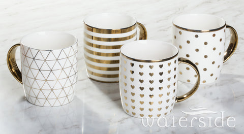 4pc Gold Chrome Mugs