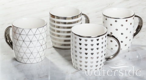 4pc Platinum Chrome Mugs