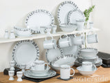 Waterside Script 65 Piece Dinner Set - Black
