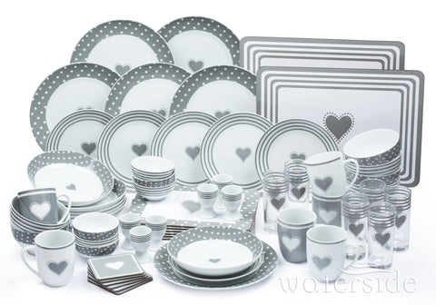 Waterside Heart Combo 62 Piece Dinner Set - Grey