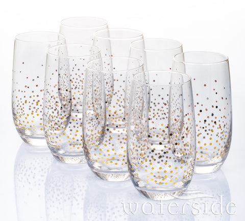 8pc Gold Star Hi-ball Glasses
