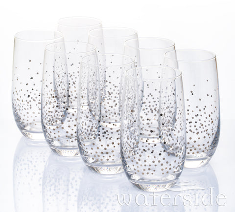 8pc Silver Star Hi-ball Glasses