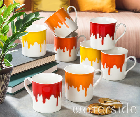 8pc Drip Glaze Mugs