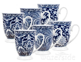 6pc Blue/White Footed Mugs