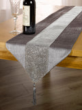 7PC VELVET SILVER DIAMANTE RUNNER & PLACEMATS