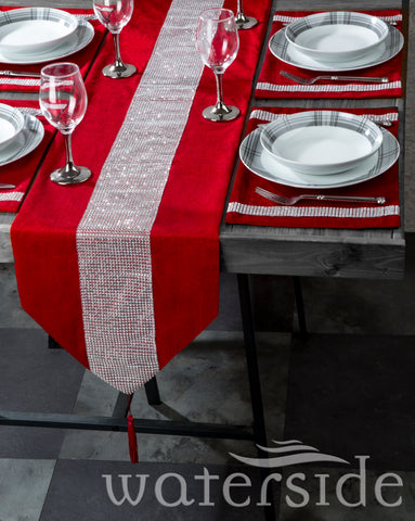 7PC VELVET RED DIAMANTE RUNNER & PLACEMATS