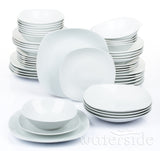 48 Piece White Square Every Day Dinner Set