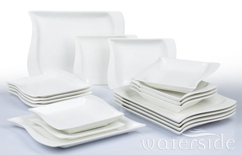 18pc Wavy Square White Dinner Set