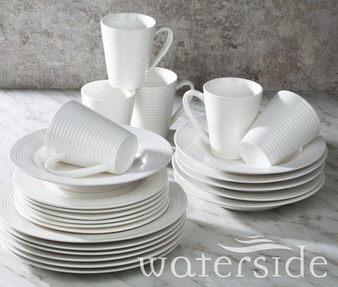 24pc White Embossed Linear D/set