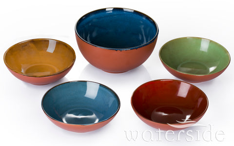 "5pc Reactive Glaze ""Terracotta"" Salad/Pasta Set"