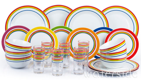 24pc  Rainbow Stripe Dinner Set
