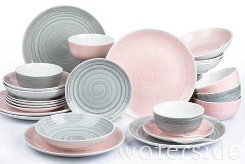 24pc Pink & Grey Spin Wash Dinner Set