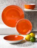 16pc Flame Orange Spin Wash Dinner Set