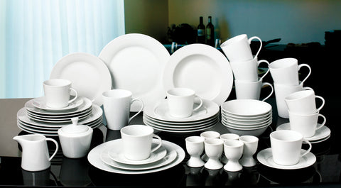 50 Piece White Round Dinner Set