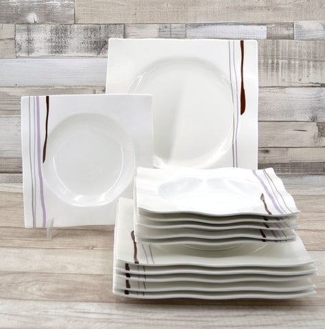 12 Piece White Square Primavera Dinnerware Set
