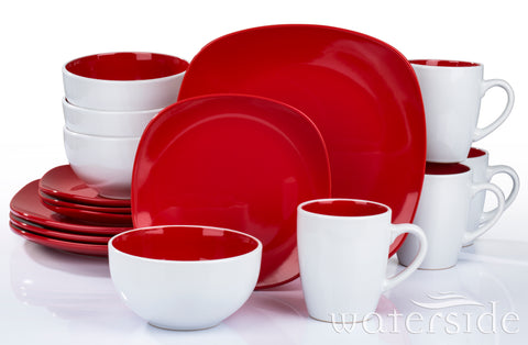 16pc Nova Square Dinner Set Red