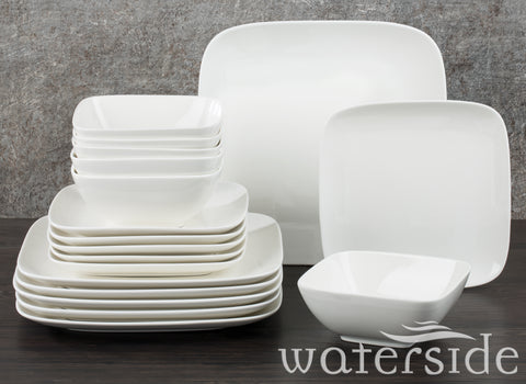 18pc Hampton Square Dinner Set White